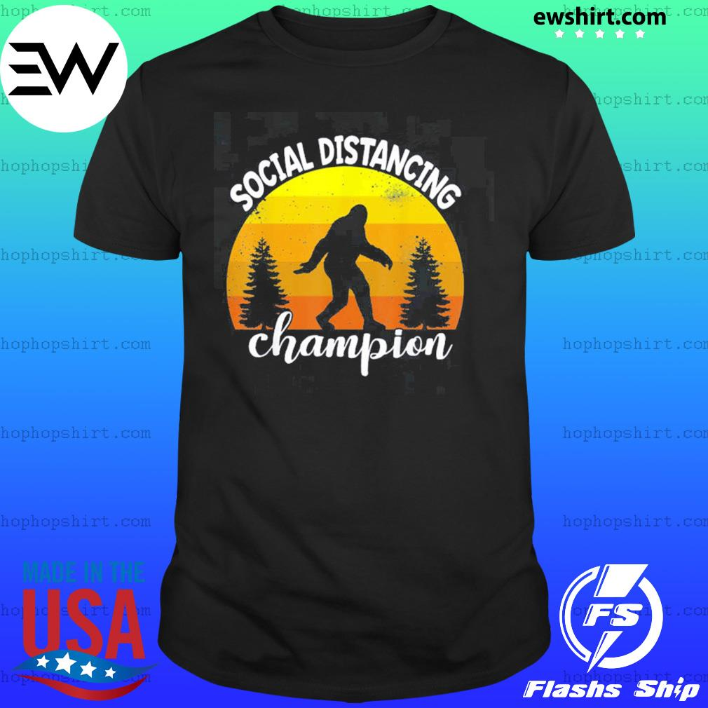 Bigfoot sasquatch conspiracy social distance champion vintage sunset shirt