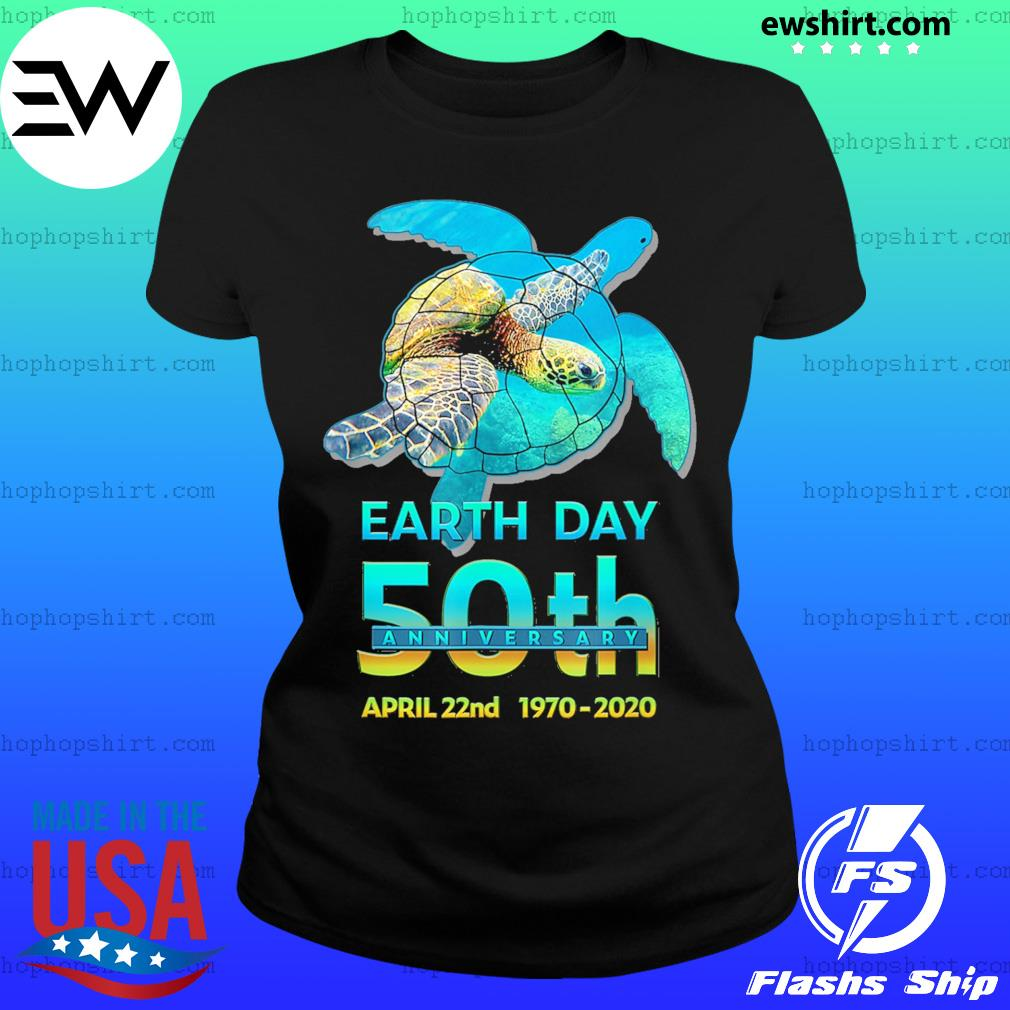 Earth day 50th anniversary sea turtle silhouette s Ladies Tee