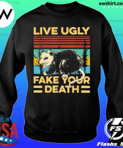 Live Ugly Fake Your Death Funny Vintage Opossum Outfit s Sweater