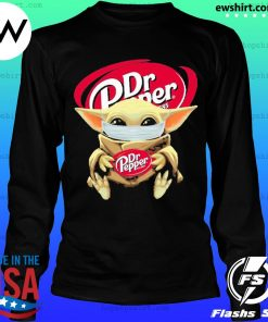 Baby yoda face mask hug Dr Pepper I can't stay at home s LongSleeve