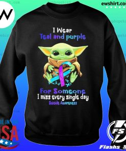 Baby Yoda I wear teal and Purple Suicide awareness Shirt Sweater