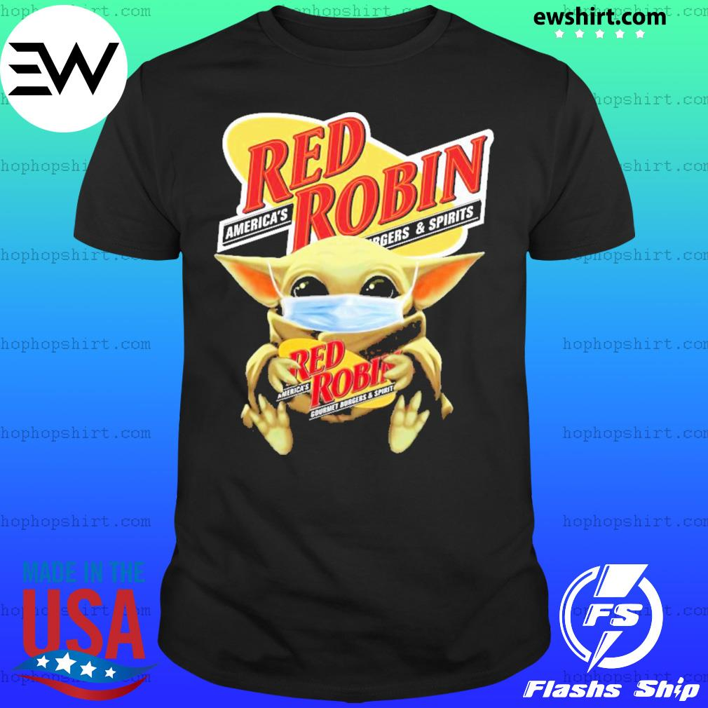 Baby Yoda Mask Hug Red Robin shirt