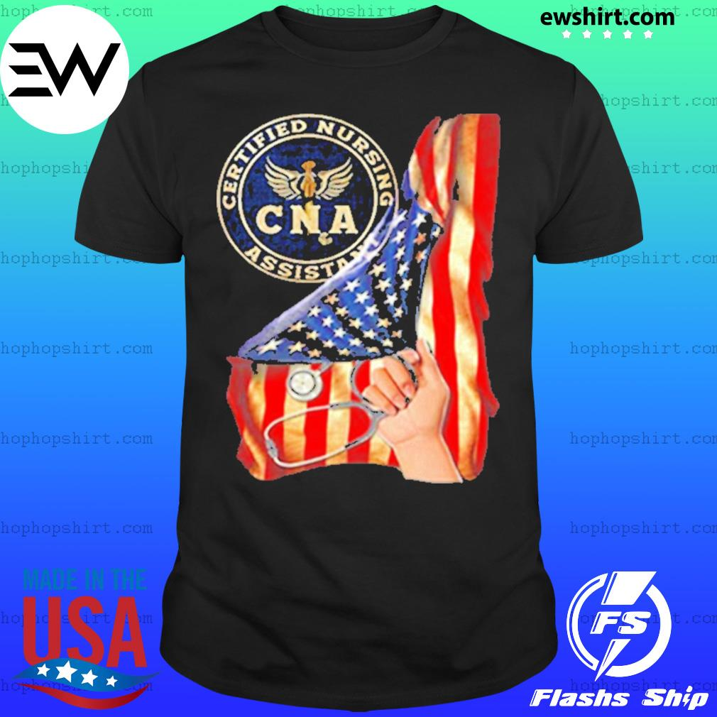 Nurse strong american flag CNA certified nursing assistant shirt