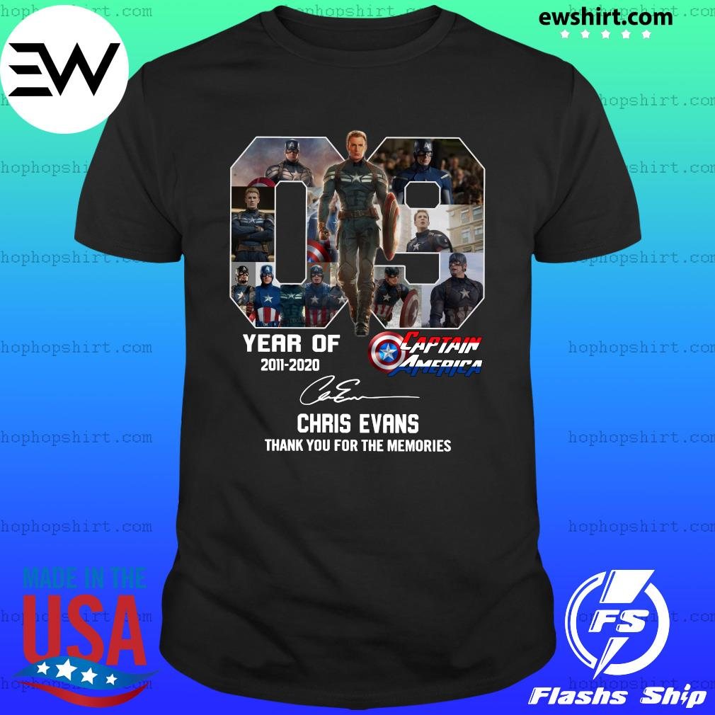 09 Years Of Captain America 2011 2020 Chris Evans Thank You For The Memories Signature Shirt