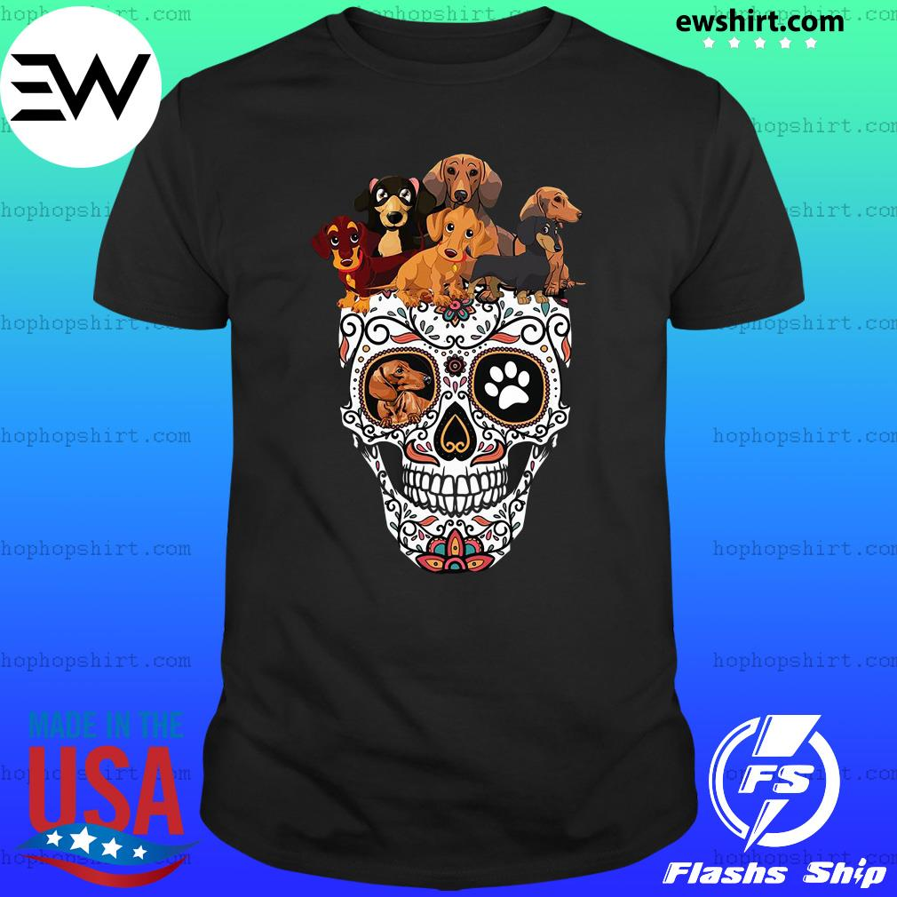 Sugar Skull And Retro Flowers Day Of The Dead Dachshund Halloween Shirt