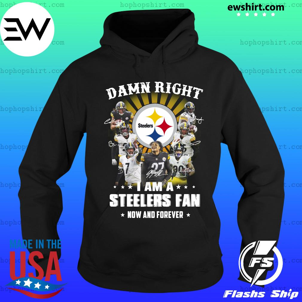 Damn Right I Am A Pittsburgh Steelers Fan Now And Forever Signatures T-Shirt Hoodie