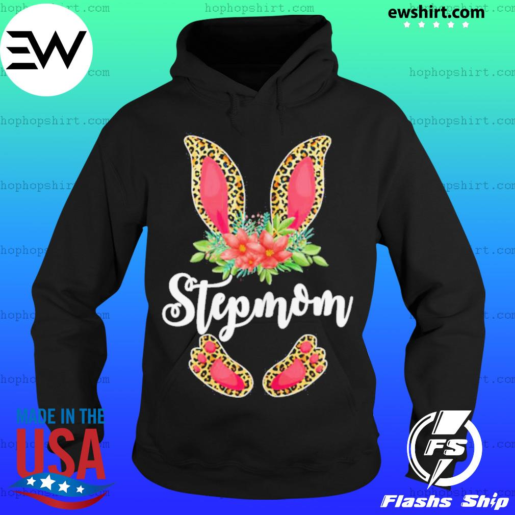 Womens Easter Day Gifts Cute Flower Stepmom Leopard Bunny T Shirt Hoodie