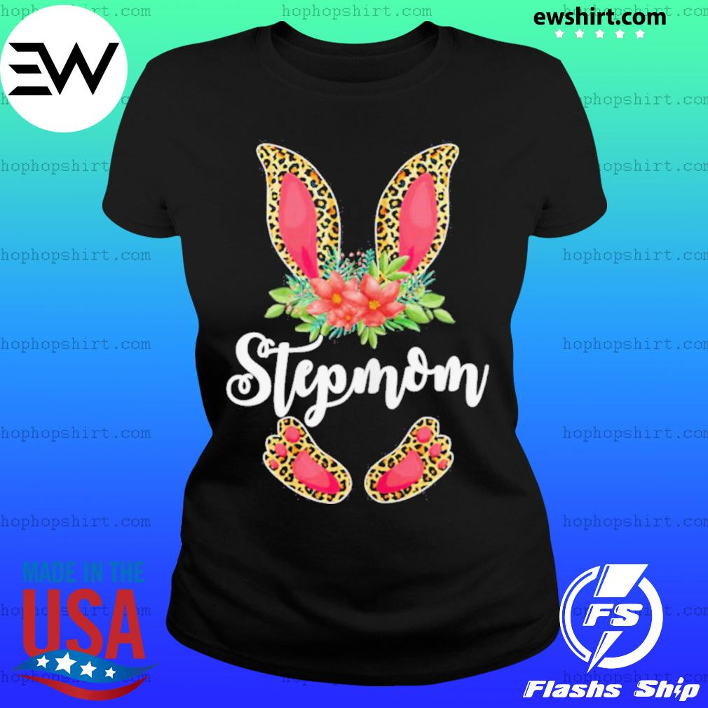 Womens Easter Day Gifts Cute Flower Stepmom Leopard Bunny T Shirt Ladies Tee