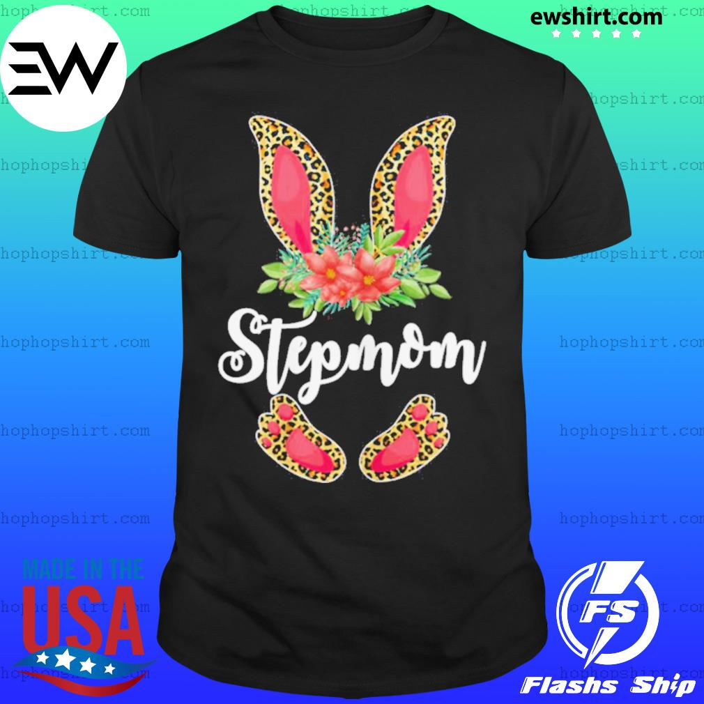 Womens Easter Day Gifts Cute Flower Stepmom Leopard Bunny T Shirt