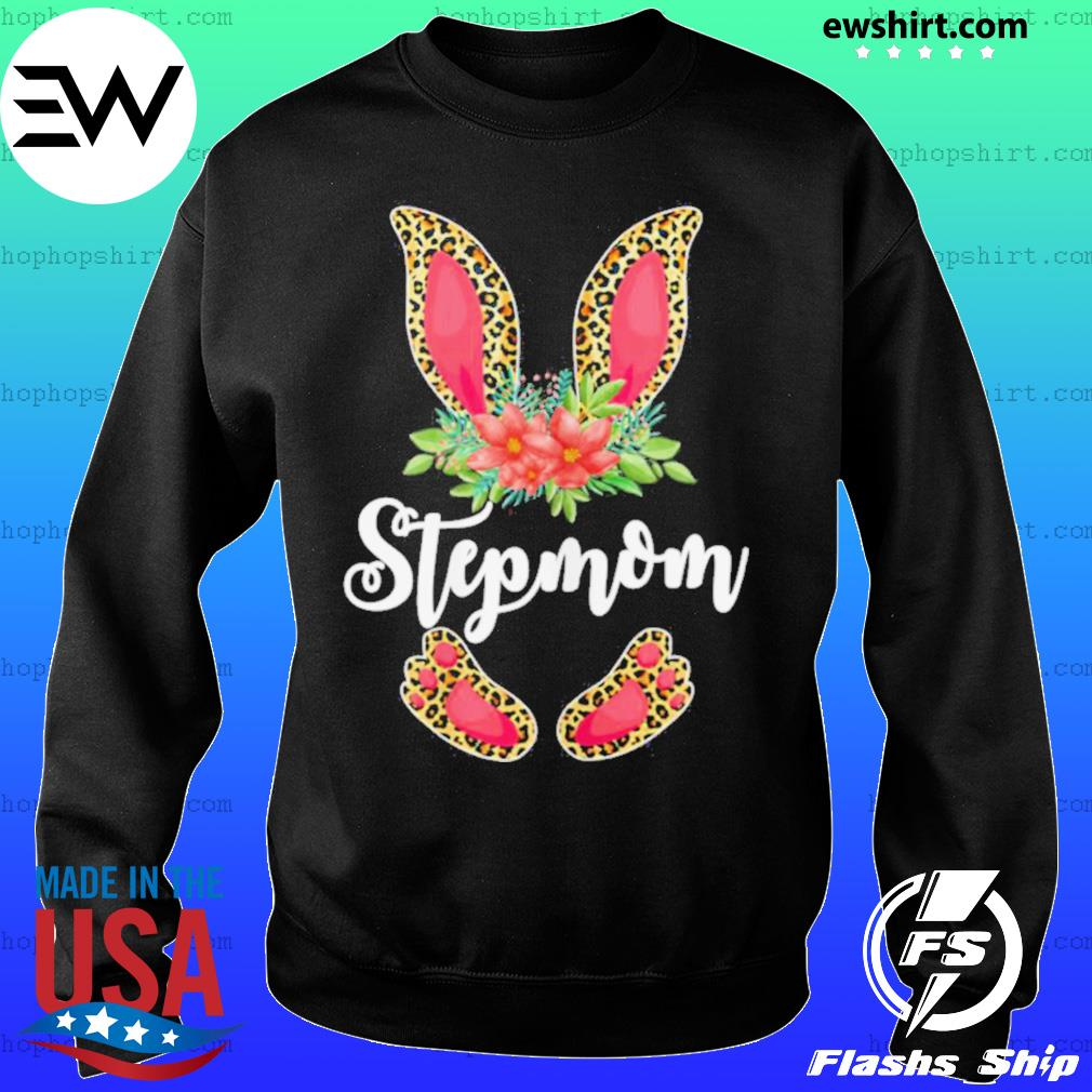 Womens Easter Day Gifts Cute Flower Stepmom Leopard Bunny T Shirt Sweater