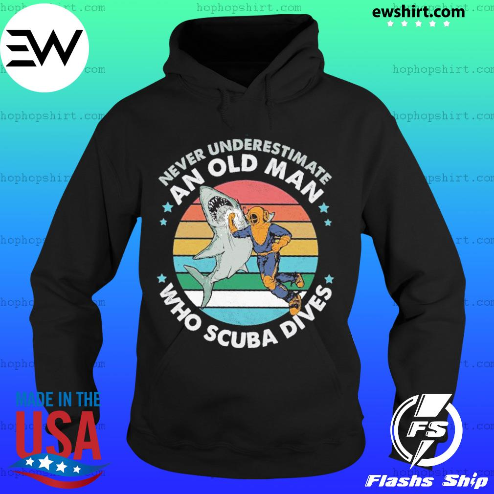 Never Underestimate An Old Man Who Scuba Dives Vintage Retro Shirt Hoodie